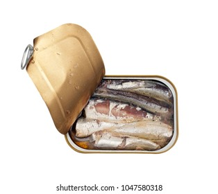 Can of sardines in oil isolated on white background.