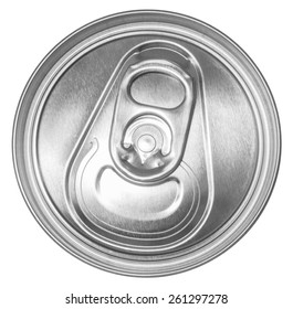 can of soda top view. Clipping path included