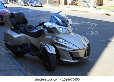Can Am Spyder Rts, Silver Can Ham spyper parked in the vicinity of Albany House in the crown heights section of Brooklyn New York on October 8 2019