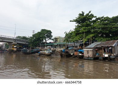 Can Tho city, Viet Nam - 03 May, 2017: Cai Rang floating market in Mekong River is characteristic for the West River area casual and rustic in business agricultural commodities in Can Tho, Viet Nam