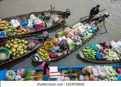 Can Tho, Viet Nam . Feb 11, 2018. Phong Dien floating market very famous in Mekong delta