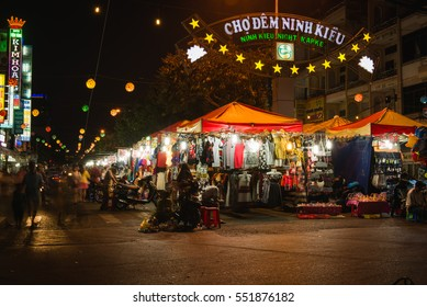 Can Tho, Vietnam - April, 02: Entrance to Ninh Kieu night market on the south of Vietnam full of lights