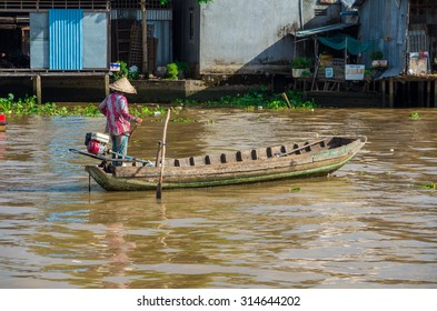 Can Tho, Vietnam - August 12, 2015: the Cai Rang Floating Market in Can Tho is the largest floating wholesale market on the Mekong Delta.