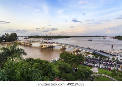 CAN THO, VIETNAM - JULY 08, 2016 -  Can Tho walking bridge is a new pedestrian bridge was inaugurated in Can Tho City in Vietnam's Mekong Delta