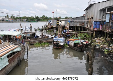 Can Tho, Vietnam - June, 18, 2015: floating market on Mekong river in Vietnam