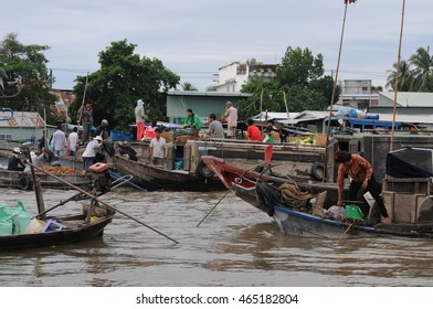 Can Tho, Vietnam - June, 18, 2015: Cai Rang floating market on Mekong river in Vietnam