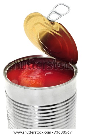 a can of whole peeled tomatoes on a white background