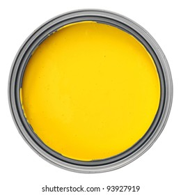 can with yellow paint over white background, clipping path