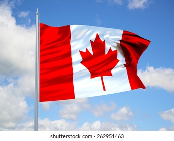 Canada 3d flag floating in the wind with a blue sky in the background