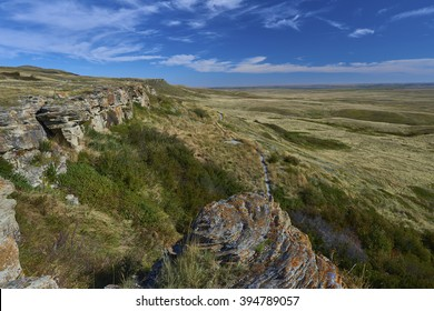 "CANADA, ALBERTA, 2014-09-29: ""Head Smashed In Buffalo Jump"" World Heritage site. Over this 36 ft high cliff the Indians drove the buffalos. This technique of hunting was used for about 6000 years."
