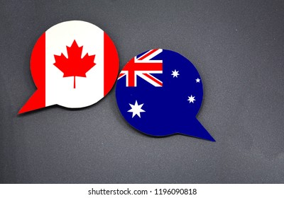 Canada and Australia flags with two speech bubbles on dark gray background