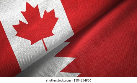 Canada and Bahrain two flags textile cloth, fabric texture