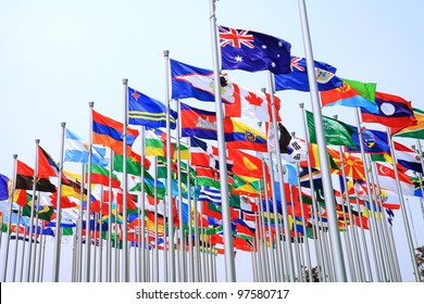 Canada Brazil British Commonwealth and world national flags is flying
