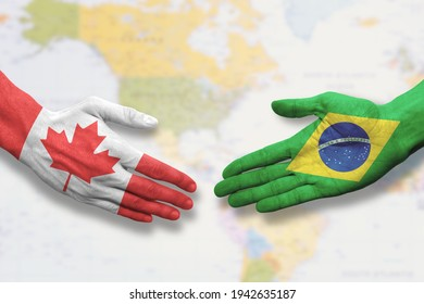 Canada and Brazil - Flag handshake symbolizing partnership and cooperation