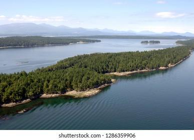 Canada, British Columbia, Gulf Islands, Wallace Island. Aerial photo of Wallace Island Marine Provincial Park