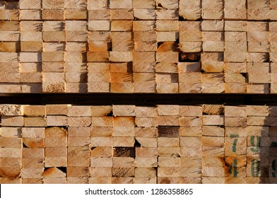 Canada, British Columbia, Vancouver Island. 2x4 lumber stacked on the docks in Cowichan Bay