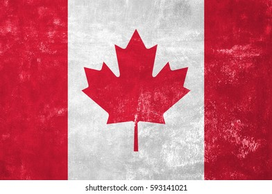 Canada - Canadian Flag on Old Grunge Texture Background