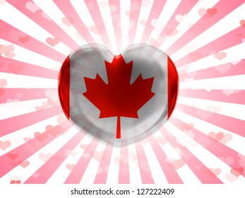 Canada. Canadian flag  painted on glass heart on stripped background