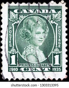 CANADA - CIRCA 1935: stamp printed by Canada shows the future Queen Elizabeth aged about 10 on the occasion of a royal visit to Canada.