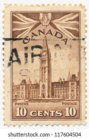 CANADA - CIRCA 1942: A stamp printed in Canada, shows Peace Tower Ottawa, Parliament Buildings Ottava, circa 1942