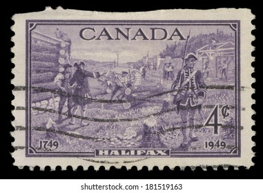 CANADA - CIRCA 1949: A stamp printed in Canada, shows Halifax, circa 1949