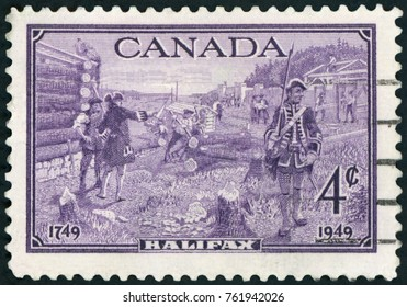 CANADA - CIRCA 1949: a stamp printed in the Canada shows soldiers at Halifax, circa 1949
