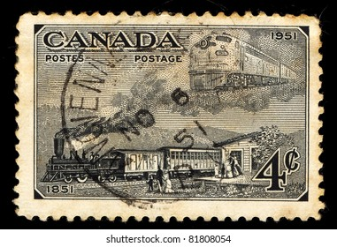CANADA - CIRCA 1951: A stamp printed in Canada shows Old Trains, circa 1951