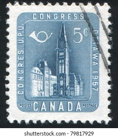 CANADA - CIRCA 1957: stamp printed by Canada, shows Parliament Building, Ottawa, circa 1957