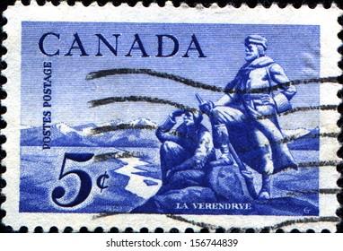 CANADA - CIRCA 1958: A stamp printed in Canada  shows La Verendrye explorer Commemoration. La Verendrye statue, circa 1958