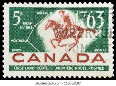 CANADA - CIRCA 1963: Commemorative mail stamp printed in Canada celebrating the bicentiale of the Montreal-Quebec mail route, circa 1963