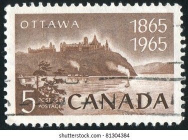 CANADA - CIRCA 1965: stamp printed by Canada, shows Parliament and Ottawa River, circa 1965