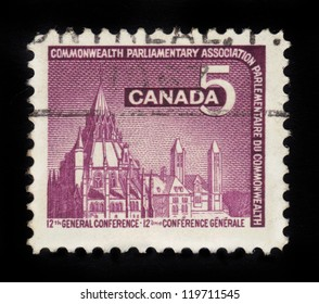 CANADA - CIRCA 1966: stamp printed by Canada, shows Parliamentary Library, Ottawa, devoted to the 12th General Conference of the Commonwealth Parliamentary Association , circa 1966