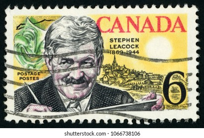 CANADA - CIRCA 1969: post stamp printed in Canada shows humorist, historian and economist Stephen Leacock (1869-1944), comedy mask and mariposa view; Scott 504 6c; circa 1969