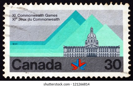 CANADA - CIRCA 1978: a stamp printed in the Canada shows Alberta Legislature Building, 11th Commonwealth Games, Edmonton, circa 1978
