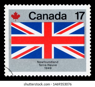 CANADA - CIRCA 1979:  A stamp printed in Canada from the `Canada Day. Flags` issue shows Newfoundland flag, circa 1979.