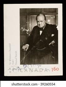 CANADA - CIRCA 1980: A Stamp printed in Canada shows Sir Winston Churchill, circa 1980