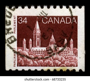 CANADA - CIRCA 1985: A stamp dedicated to The Parliament of Canada is the federal legislative branch of Canada, seated at Parliament Hill in the national capital, Ottawa, circa 1985.