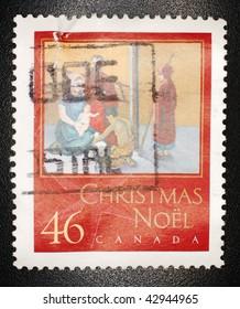 CANADA - CIRCA 1987: A 46 cent stamp printed in Canada shows image celebrating Christmas, circa 1987