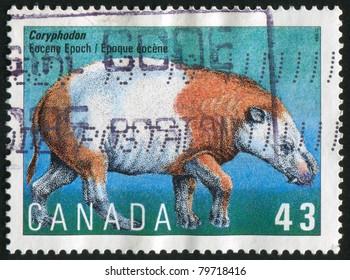 CANADA - CIRCA 1993: stamp printed by Canada, shows Dinosaurs, Coryphodon, circa 1993