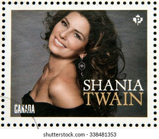 CANADA - CIRCA 2014: Stamp printed in Canada dedicated to canadian country artist, shows Shania Twain, circa 2014