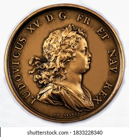 Canada A coin commemorating featuring a portrait of  Louis XV of France (Founding of Louisburg), 1715-1774.