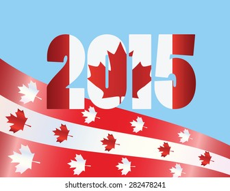 Canada Day 2015 with Red Maple Leaf Flag Symbols on Blue Background