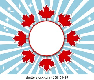 Canada Day banner with a maple leaves and shadow. Raster version.