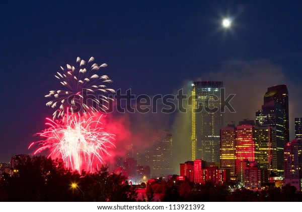 Canada day fireworks, Calgary, Alberta, Canada