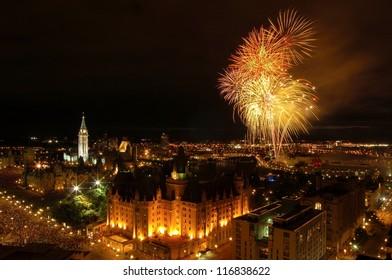 Canada Day fireworks over Ottawa, Canada