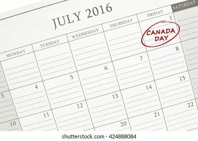 Canada Day July 2016 Calendar