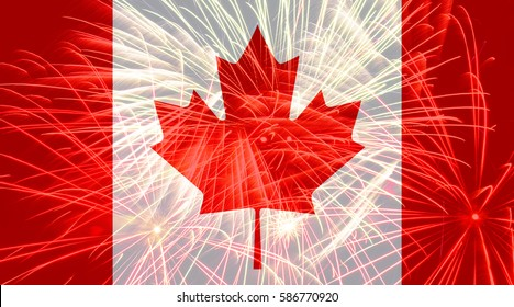 Canada flag against fireworks
