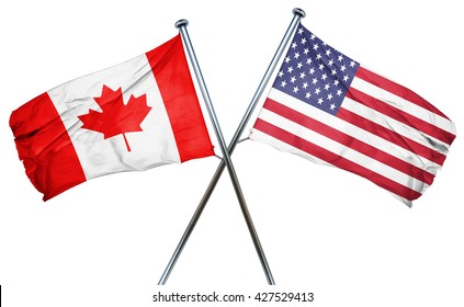 Canada flag with american flag, isolated on white background