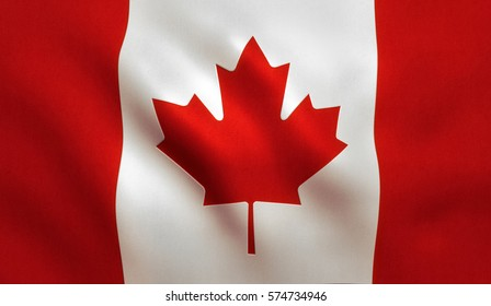 Canada flag background with cloth texture.