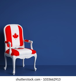 Canada flag chair on blue background with copy space. Digital illustration.3d rendering